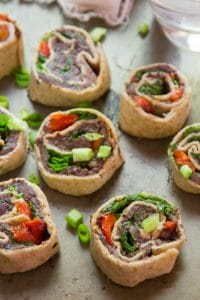 Southwest Black Bean Pinwheels Arranged on a Platter