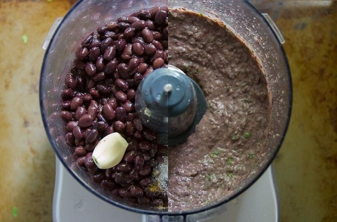 Food Processor Bowl Filled with Black Beans and Seasonings Before and After Blending for Making Southwest Black Bean Pinwheels