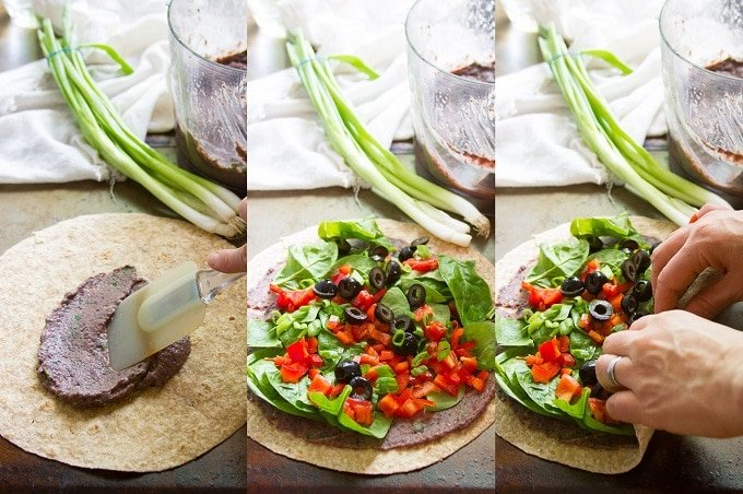 Collage Showing Steps for Assembling Southwest Black Bean Pinwheels: Slather Tortilla with Whipped Beans, Spread with Toppings, and Roll