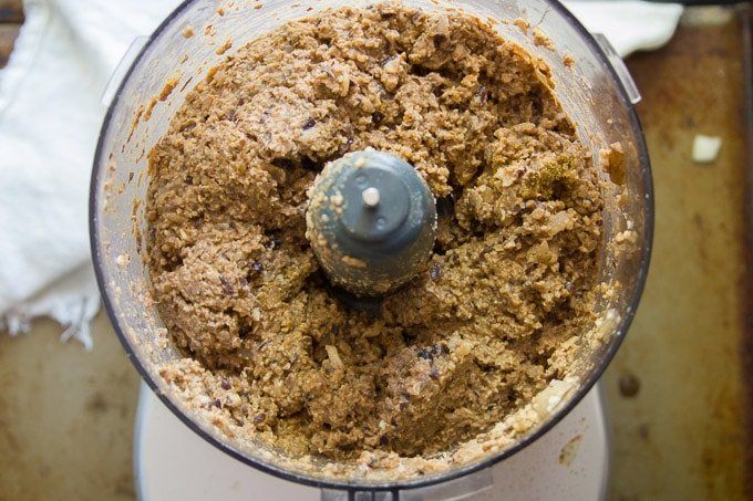 Food Processor Bowl Filled with Ingredients For Making Black Bean Walnut Burgers