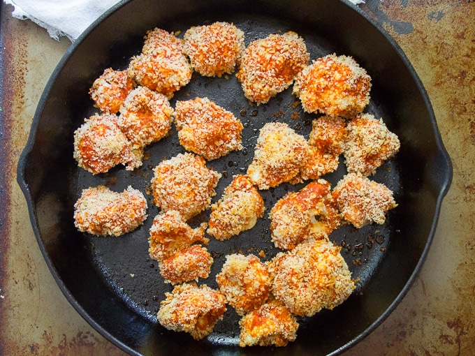 Baked Cauliflower in a Skillet for Making Crispy Cauliflower Tacos
