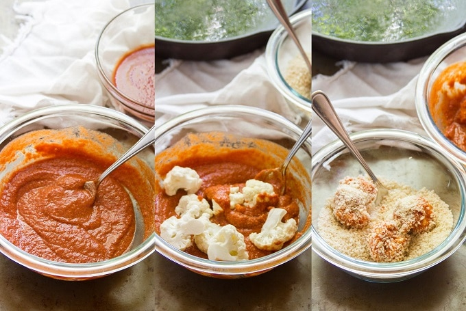 Collage Showing Steps for Making Cauliflower for Crispy Cauliflower Tacos: Mix Sauce, Coat Cauliflower in Sauce, and Coat Cauliflower in Panko Breadcrumbs