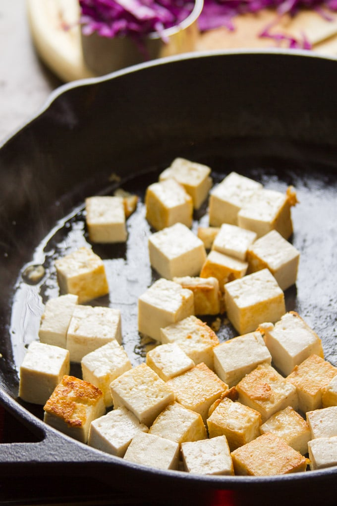 Tofu in a Skillet for Making Sesame Peanut Noodles