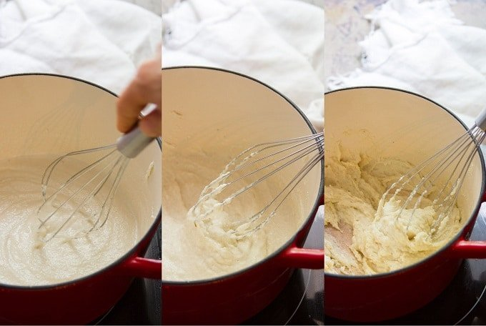 Collage Showing Stages of Cooking Cashew Mozzarella For Vegan Caprese Sandwiches