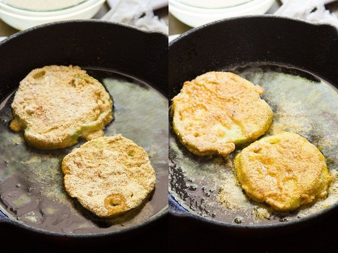 Collage Showing Two Stages of Frying Vegan Fried Green Tomatoes