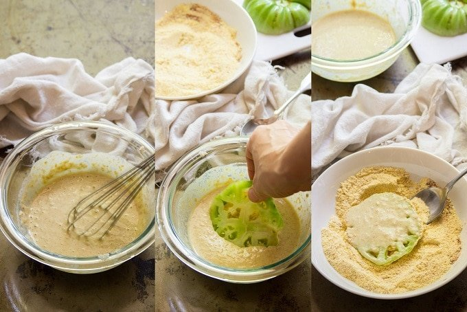 Collage Showing Steps For Coating Vegan Fried Green Tomatoes: Whisk Batter Ingredients Together, Dip Tomato Slice in Batter, and Dredge Tomato Slice in Cornmeal