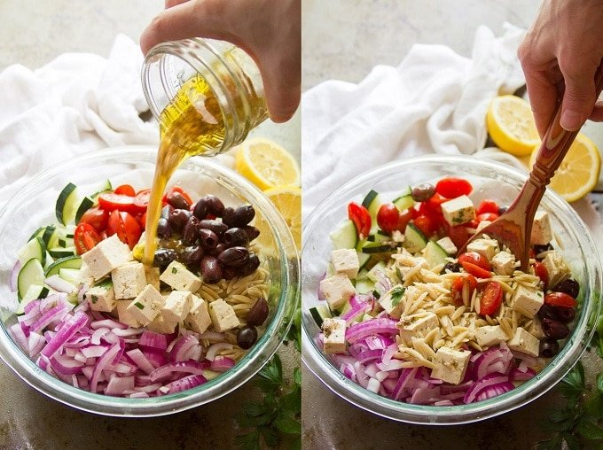 Collage Showing the Steps for Making Vegan Greek Orzo Salad: Pour Dressing over Pasta and Veggies, and Toss