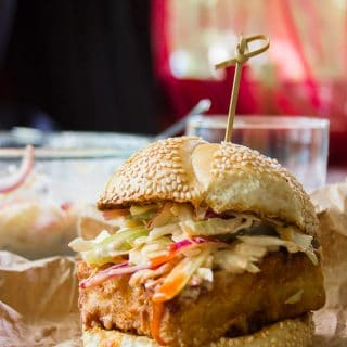 """""""Chicken"""" Fried Tofu Sandwiches with Spicy Buffalo Slaw"""