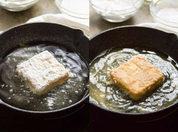"Collage Showing Stages of Frying Tofu for ""Chicken"" Fried Tofu Sandwiches with Spicy Buffalo Slaw"