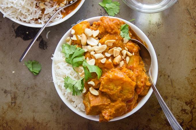 Overhead Shot of Smoky Tofu, Peanut Butter & Plantain Curry