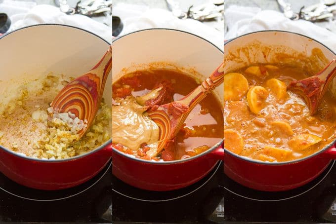 Collage Showing Steps for Cooking Smoky Tofu, Peanut Butter & Plantain Curry: Sauté Aromatics, Add Tomatoes and Peanut Butter, then Simmer Plantains