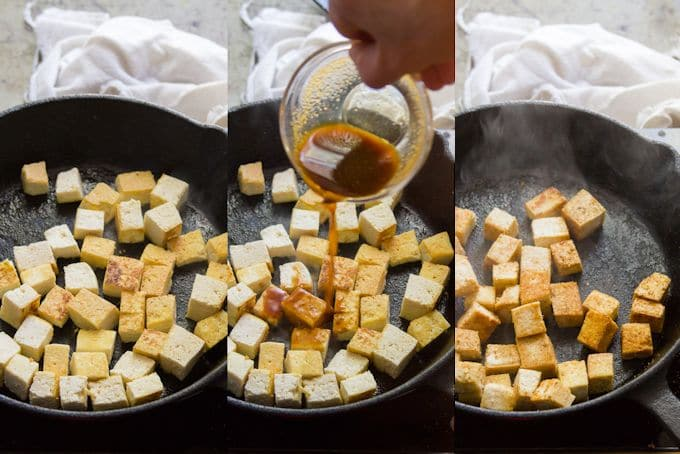 Collage Showing Steps For Cooking Tofu to Make Smoky Tofu, Peanut Butter & Plantain Curry: Pan-Fry Tofu, Add Sauce, and Cook Off Excess Liquid