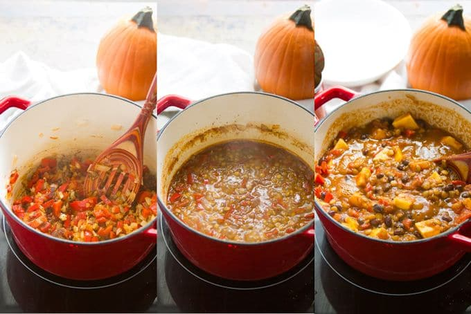 Collage Showing the Steps for Making Vegan Pumpkin Chili: Sauté Onions and Peppers, Simmer Lentils, and Add Beans, Tomatoes and Pumpkin