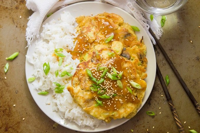 Overhead View of Vegan Egg Foo Young on a Plate with Rice