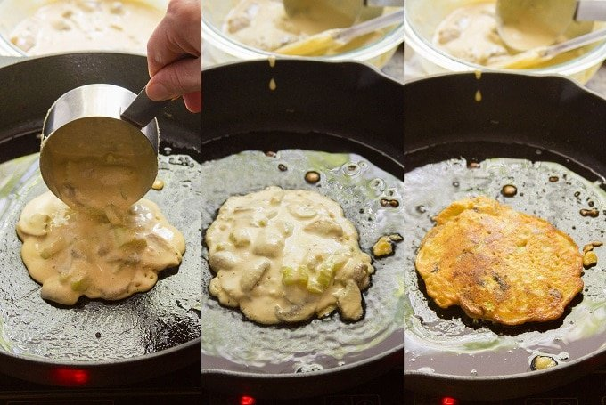 Collage Showing Steps for Cooking Omelets for Vegan Egg Foo Young: Pour Batter in Skillet, Cook 4 Minutes, Flip and Cook 4 Minutes More