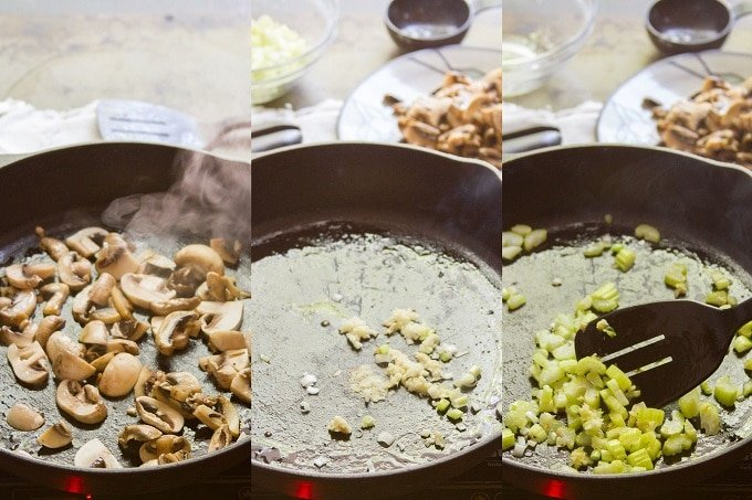 Collage Showing Steps for Cooking Vegetables for Vegan Egg Foo Young: Sauté Mushrooms, Add Ginger and Garlic, and Stir Fry Celery