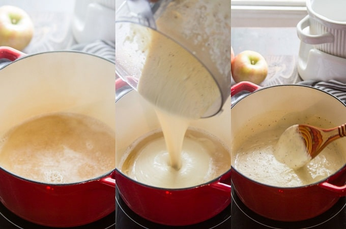 Collage Showing Steps for Making Vegan Swiss Cheese Fondue: Simmer White Wine, Add Cashew Mixture, and Simmer Again