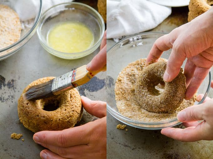 Collage Showing Steps for Coating Apple Cider Doughnuts: Brush Doughnuts with Vegan Butter, Then Roll in Cinnamon Sugar