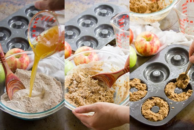 Collage Showing Steps for Making Vegan Apple Cider Doughnuts: Mix Wet and Dry Ingredients, Stir, and Spoon Into Doughnut Pan