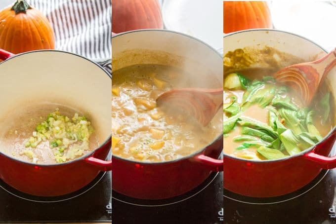 Collage Showing Steps for Making Warming Pumpkin Ramen: Sauté Aromatics, Simmer Pumpkin in Broth, and Add Baby Bok Choy