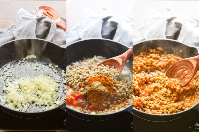 Collage Showing Steps for Making Taco Stuffed Spaghetti Squash Filling: Sauté Onions, Add Lentils, Tomatoes and Spices, and Simmer