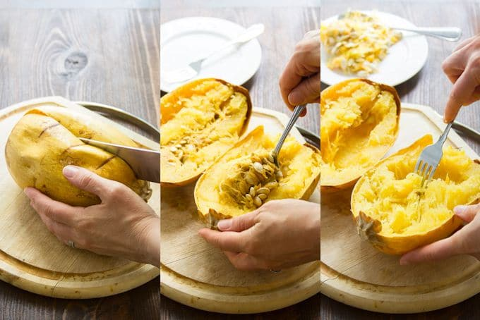 Collage Showing Steps for Preparing Spaghetti Squash Halves: Cut Squash, Scoop Out Seeds and Rake Out Flesh