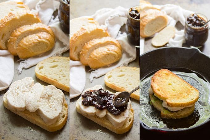 Collage Showing Steps for Making a Vegan Mozzarella & Fig Jam Grilled Cheese: Layer Cheese and Fig Jam Between Bread Slices, and Grill in Olive Oil