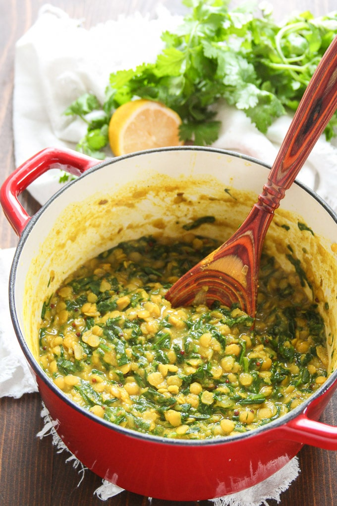 Spinach Dal in a Pot with Serving Spoon