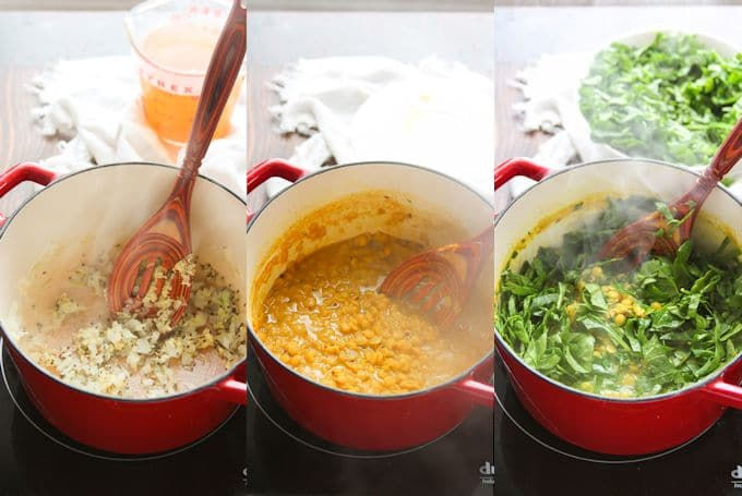 Collage Showing the Steps for Making Spinach Dal: Sauté Aromatics, Simmer Pigeon Peas and Broth, and Add Spinach