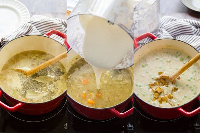 Collage Showing Steps 4-6 for Making Vegan Cream of Chicken Soup: Simmer Broth and Herbs, Add Cashew Cream, then Add Peas and Tofu
