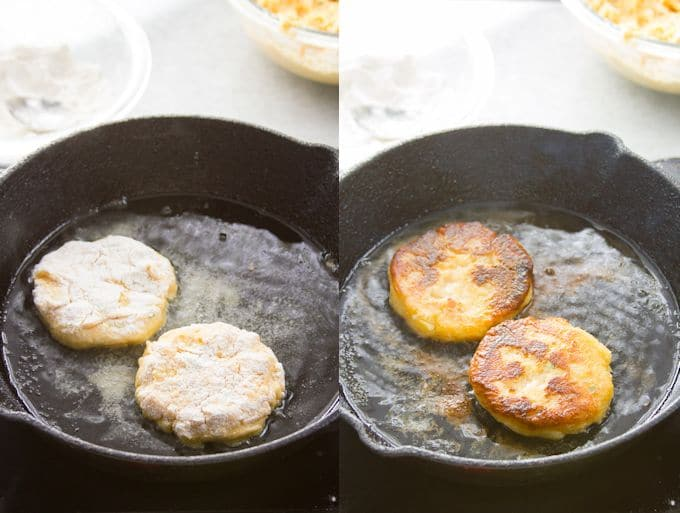 Collage Showing Two Stages of Cheesy Vegan Mashed Potato Pancakes Cooking in a Skillet