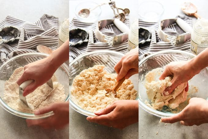 Collage Showing Steps for Making Vegan Pie Crust Dough: Cut Coconut Oil into Flour, Stir in Cold Water, and Mix with Hands