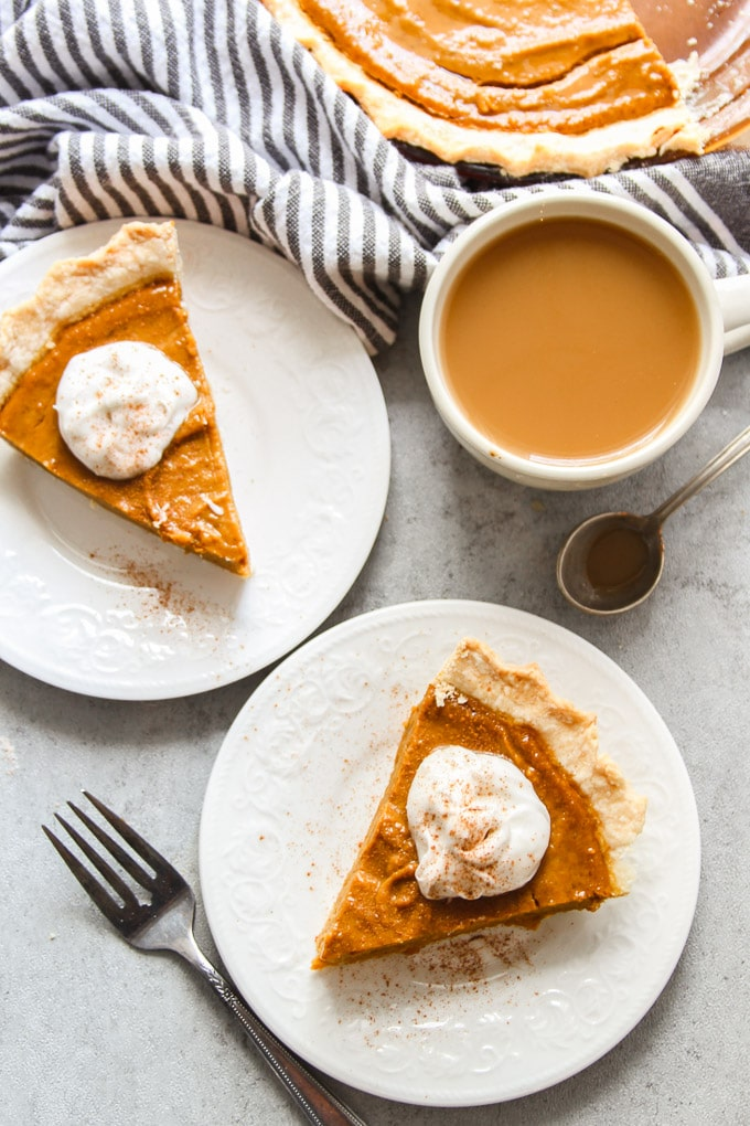 Overhead View of Two Slices of Vegan Pumpkin Pie on Plates with Forks and Coffee Cup