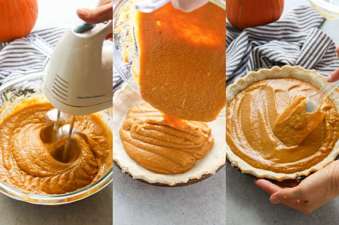 Collage Showing Steps for Making Vegan Pumpkin Pie: Beat Filling Ingredients with Mixer, Pour Filling Into Crust, and Smooth Out the Top with a Spatula