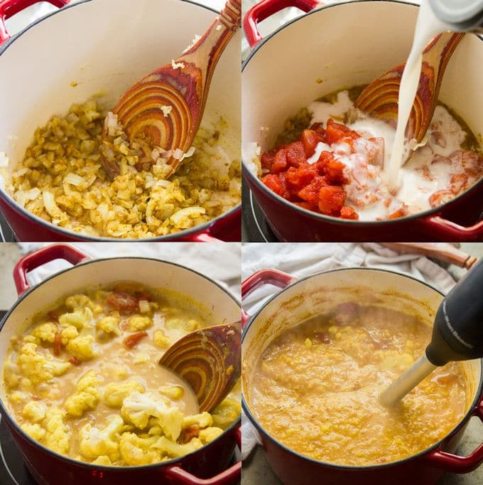 Collage Showing the Steps for Making Curried Cauliflower Soup: Sauté Aromatics, Add Coconut Milk, Tomatoes, Cauliflower and Broth, Simmer, and Blend Until Smooth