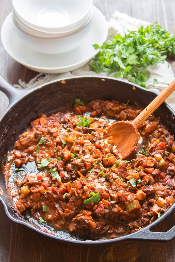 Mushroom Bolognese Sauce in a Skillet with Serving Spoon
