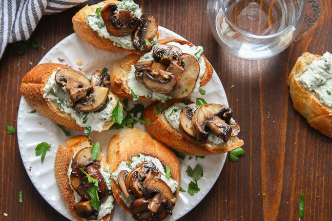 Overhead View of a Plate of Mushroom Crostini with Herbed Cashew Cheese