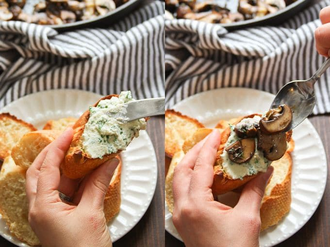 Collage Showing Steps for Assembling Mushroom Crostini: Slather Baguette Slices with Cashew Cheese and Top with Mushrooms
