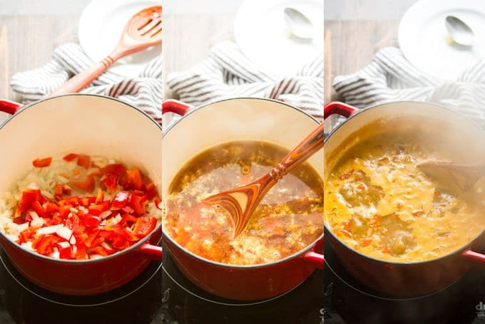 Collage Showing First 3 Steps for Making Vegan Enchilada Soup: Sauté Peppers and Onions, Add Broth, Spices and Potatoes, and Simmer