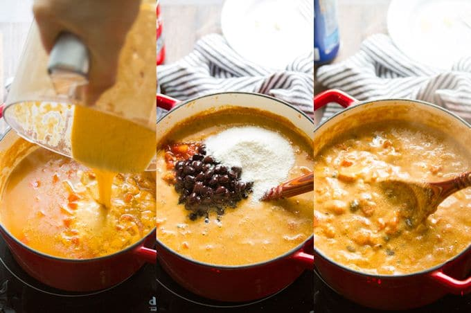 Collage Showing Last 3 Steps for Making Vegan Enchilada Soup: Add Cashew Mixture, Add Beans, Tomatoes and Masa Harina, and Simmer