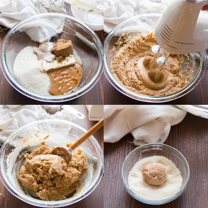Collage Showing Steps for Making Vegan Peanut Butter Blossoms: Place Sugars, Butter and Peanut Butter in a Bowl, Beat with Electric Mixer, Stir in Dry Ingredients, Shape into Balls and Roll in Sugar