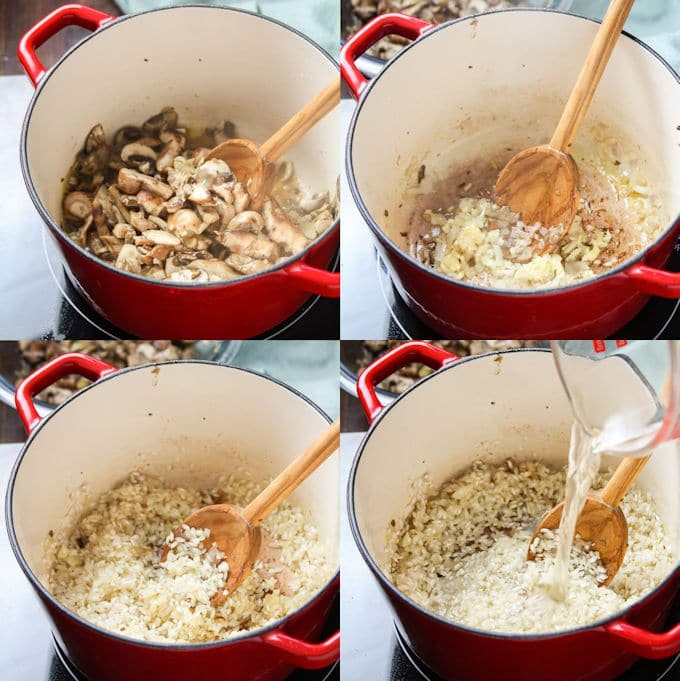 Collage Showing First 4 Steps for Making Mushroom Risotto: Sauté Mushrooms, Sauté Shallots and Garlic, Toast Rice, and Add Wine