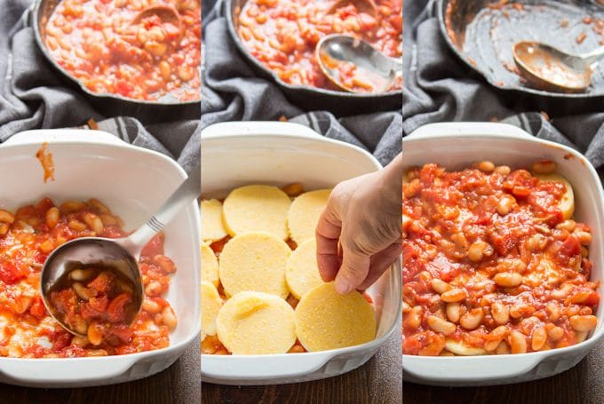 Collage Showing How to Assemble White Bean & Tomato Polenta Casserole: Arrange Layers of White Bean Tomato Sauce and Polenta Slices in a Casserole Dish