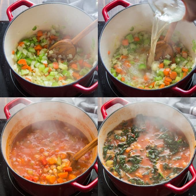 Collage Showing Steps for Making Ribollita: Sauté Onions, Celery, and Carrots, Add Wine, Add Tomatoes and Broth, Add Kale