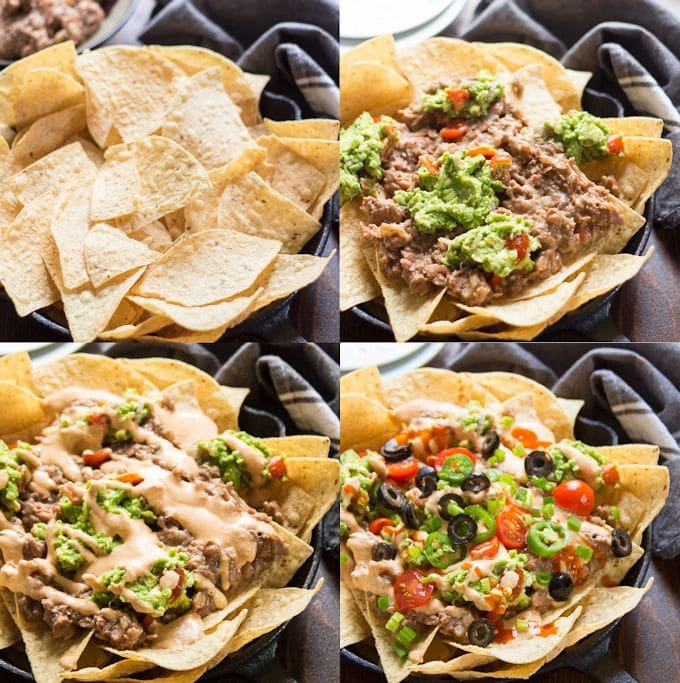 Collage Showing Steps for Assembling Vegan Nachos: Arrange Chips, Top with Refried Beans and Guacamole, Drizzle with Vegan Cheese Sauce, and Sprinkle with Toppings