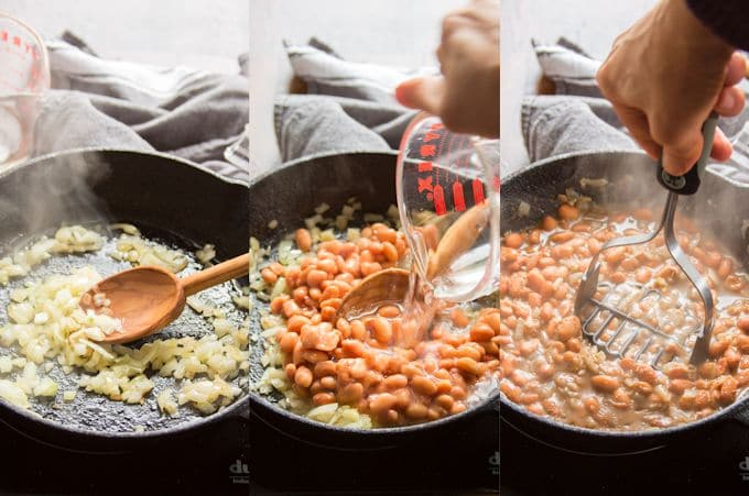Collage Showing the Steps for Making Refried Beans for Vegan Nachos: Sauté Onion, Add Beans, Spices and Water, Simmer, and Mash Beans