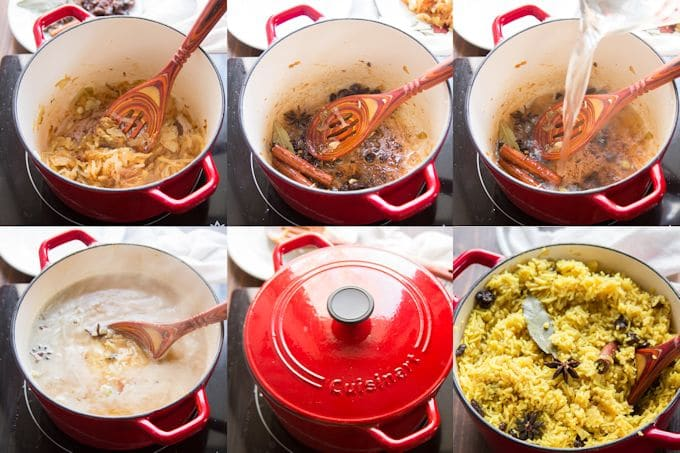 Collage Showing Steps for Making Vegetable Biryani: Caramelize Onions, Toast Spices, Add Water, Bring to Simmer, Cover and Cook, then Uncover