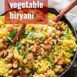 Roasted Vegetable Biryani with Baked Tofu