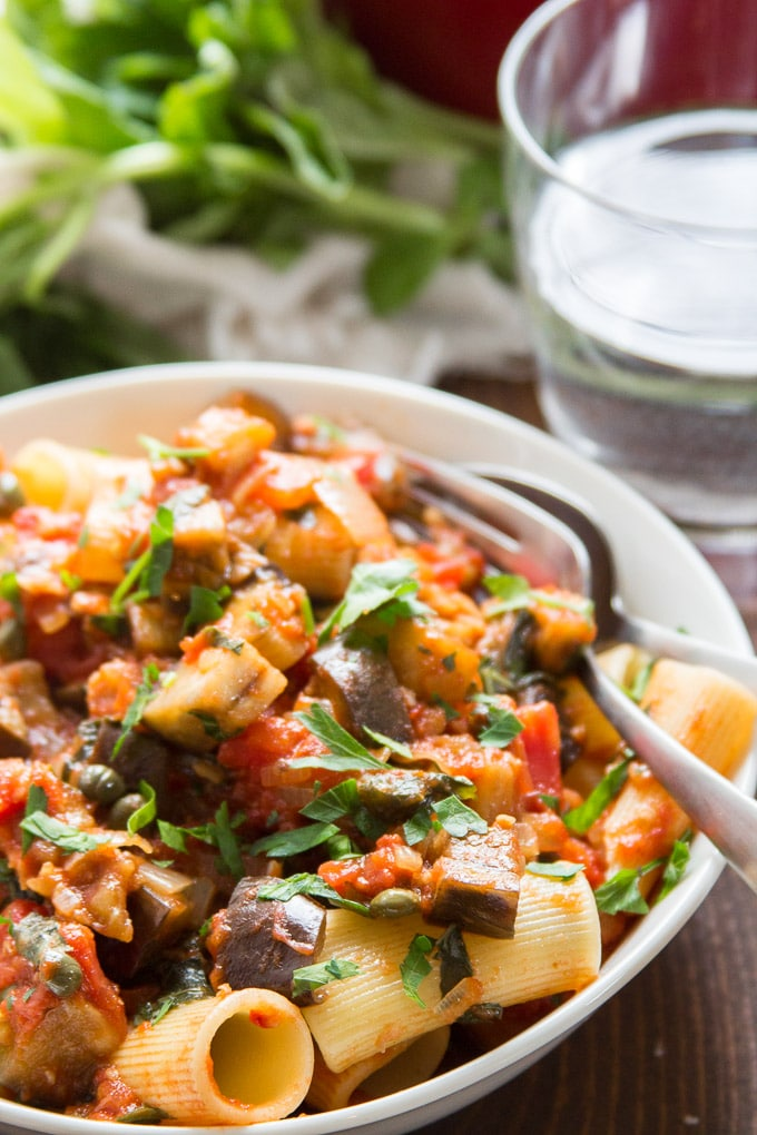 Close Up of Spicy Eggplant Pasta in a Bowl