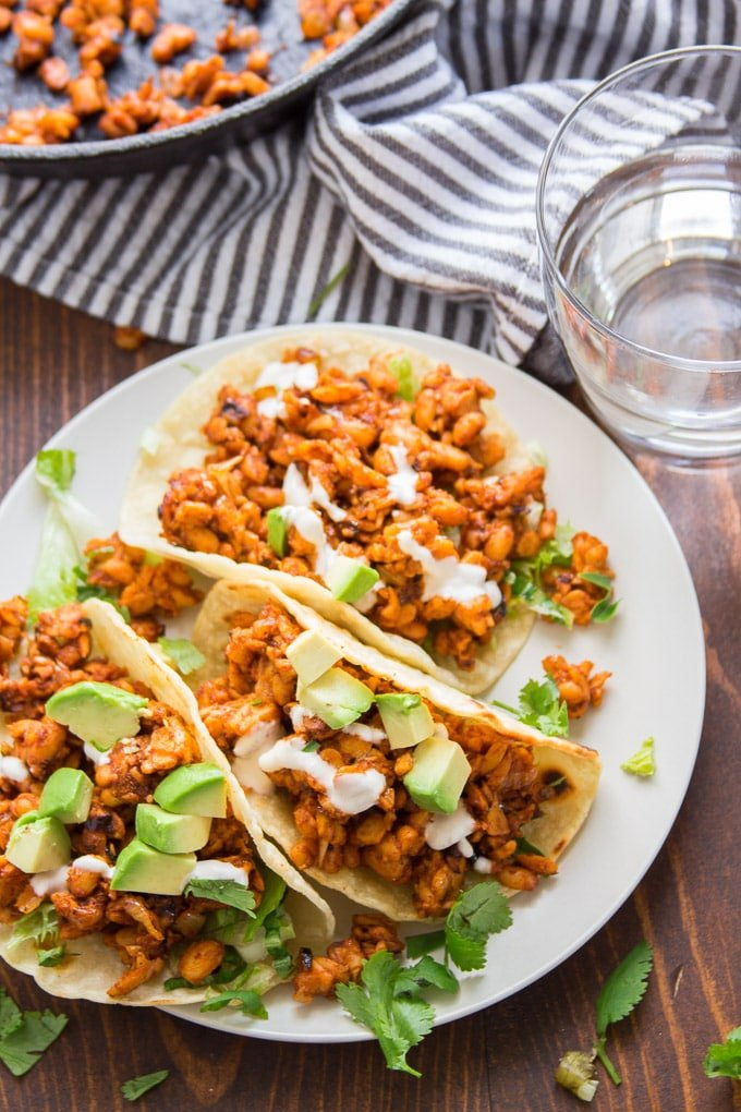 Three Tempeh Tacos on a Plate